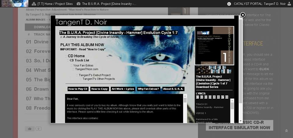 TangenTNoir.com Progress: Preview of On-line Album Interface