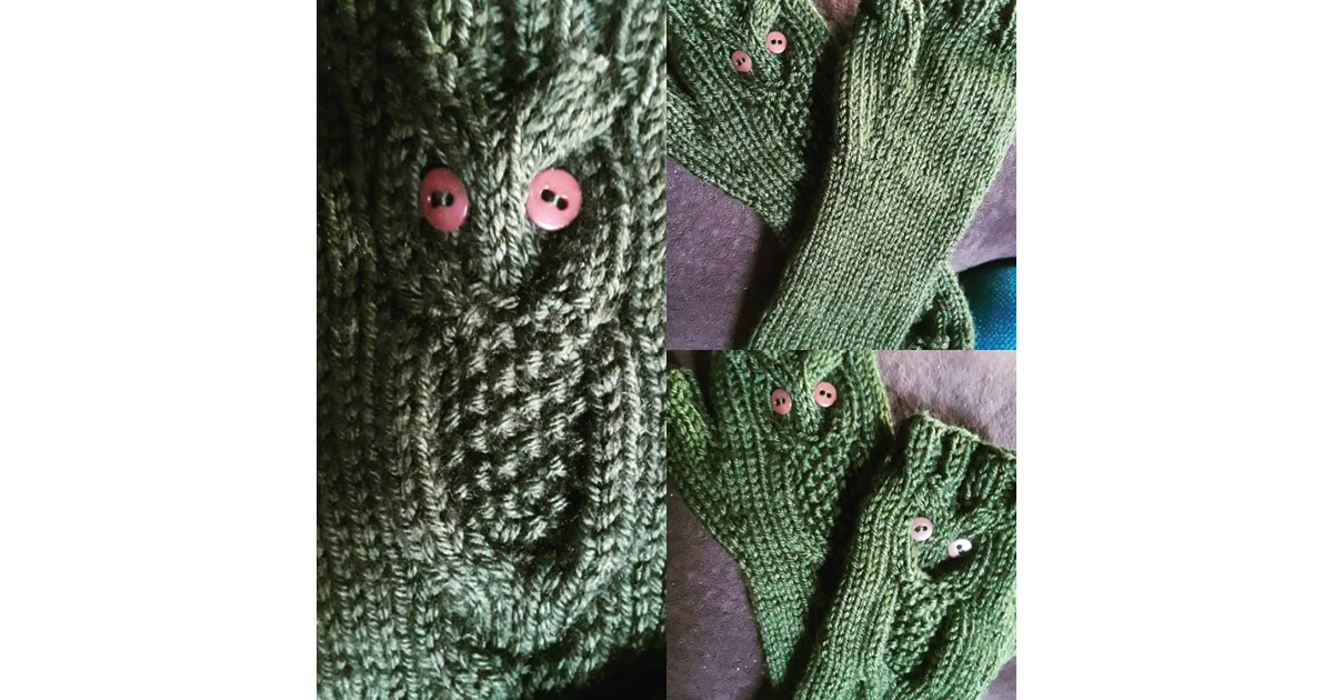 Another super popular request is for my handknit owl arm-warmers by Branwen's Dreams [Features - Creatives - Visual Arts]